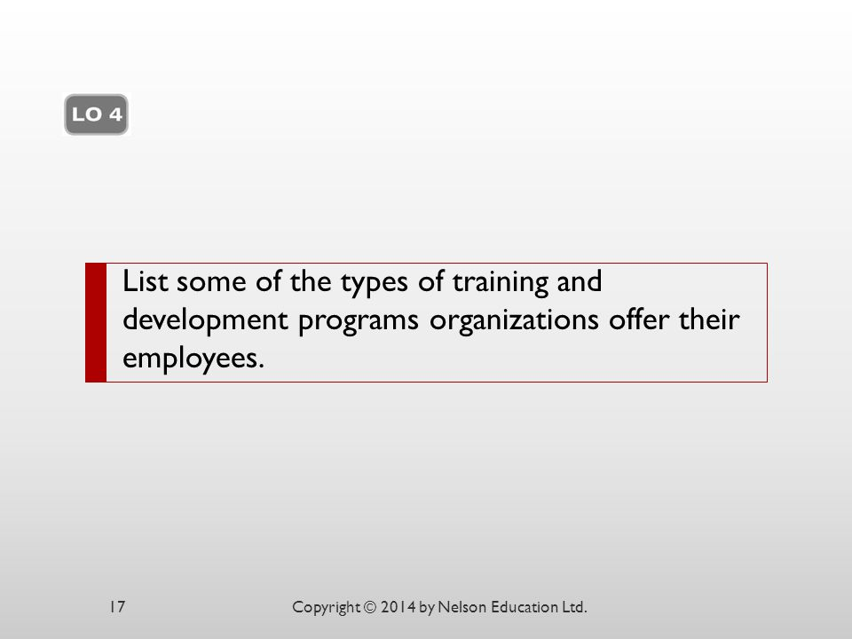 Chapter 12 List some of the types of training and development programs organizations offer their employees.