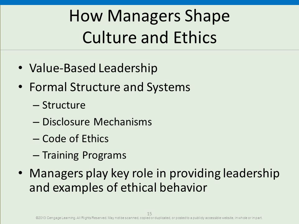 How Managers Shape Culture and Ethics