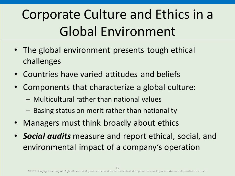 Corporate Culture and Ethics in a Global Environment