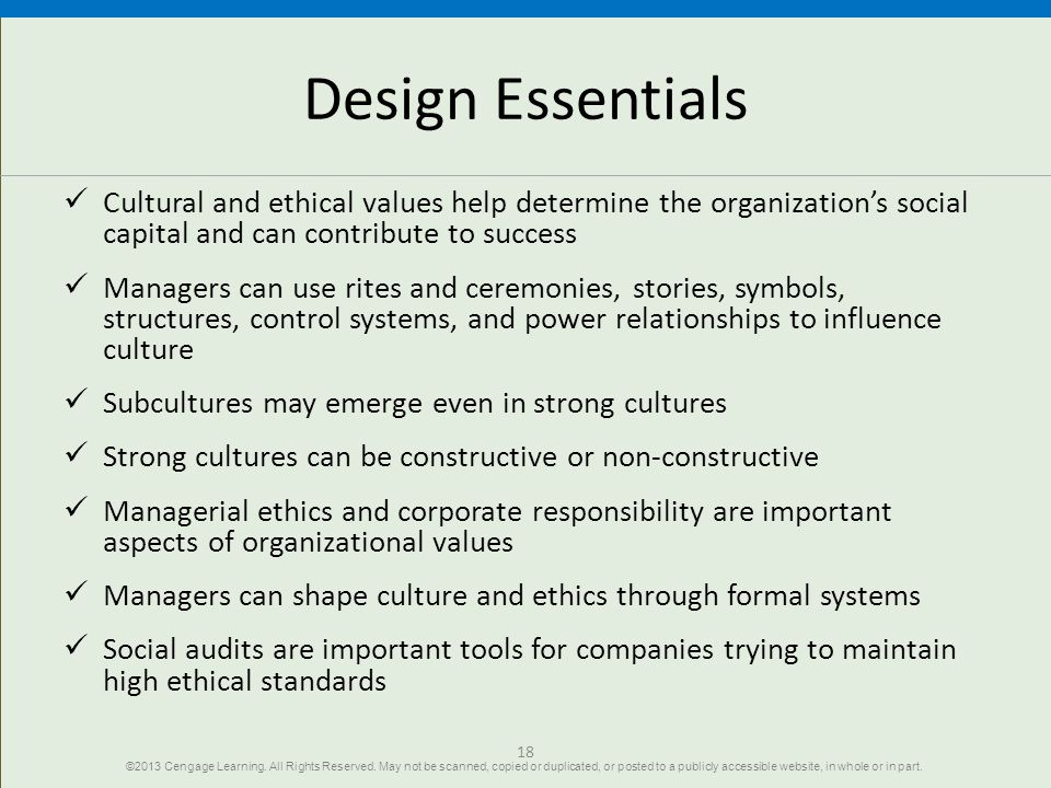 Design Essentials Cultural and ethical values help determine the organization's social capital and can contribute to success.