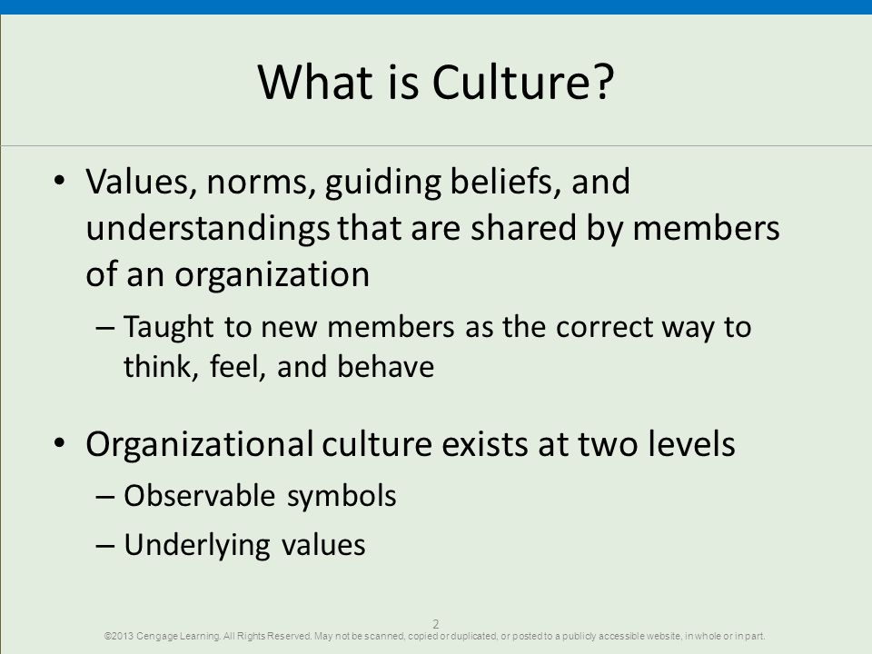 What is Culture Values, norms, guiding beliefs, and understandings that are shared by members of an organization.