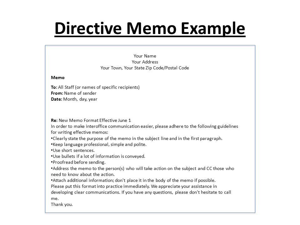 directive memo example