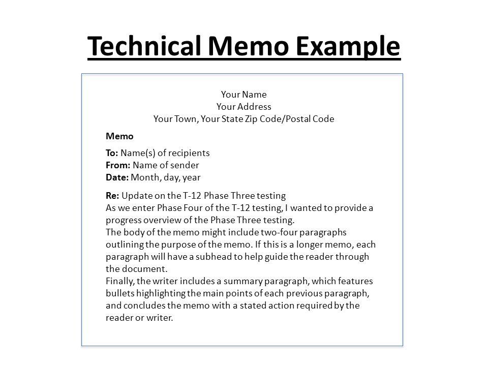 technical memo example