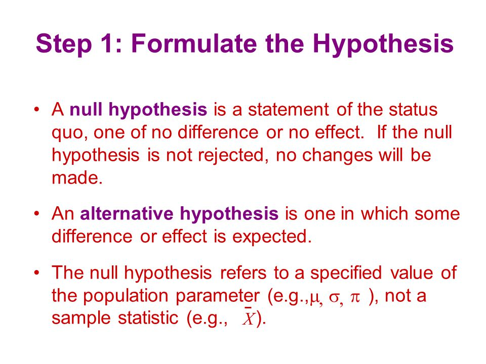 Step 1: Formulate the Hypothesis