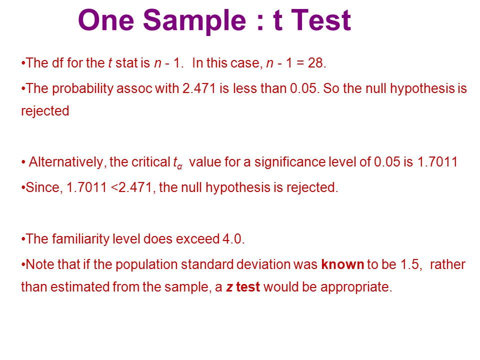 One Sample : t Test The df for the t stat is n - 1. In this case, n - 1 = 28.