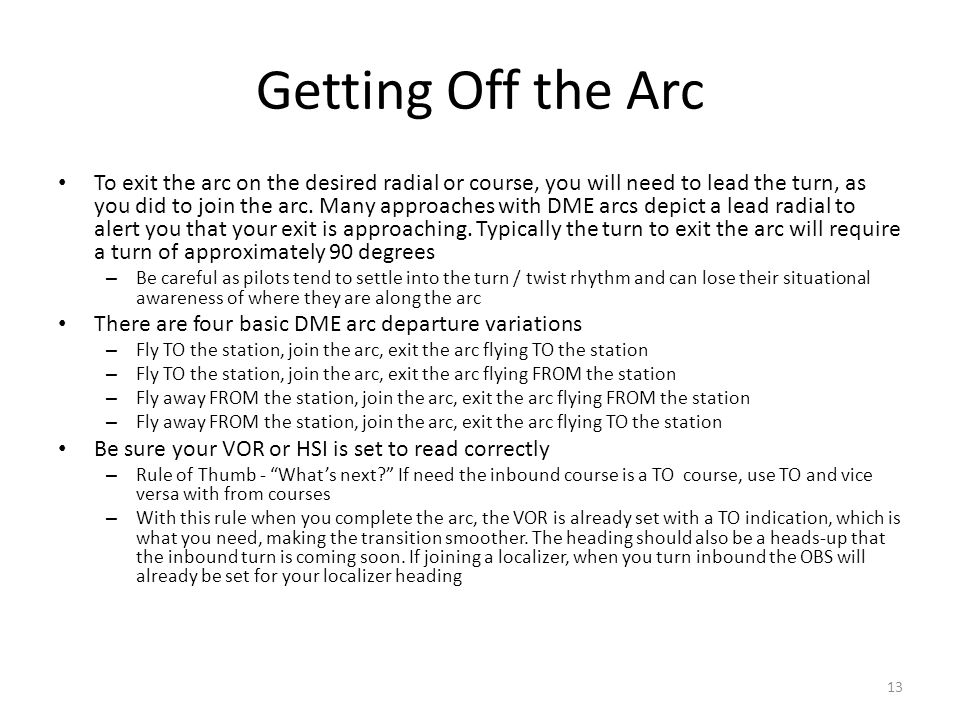 Getting Off the Arc