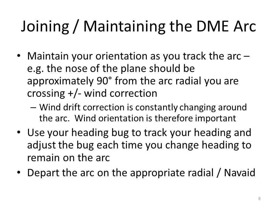 Joining / Maintaining the DME Arc