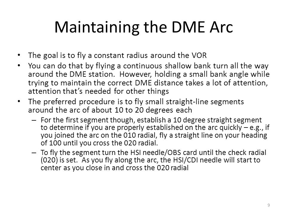 Maintaining the DME Arc