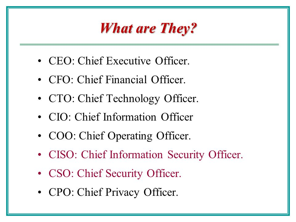 Security organization ppt video online download - Chief financial officer cfo ...