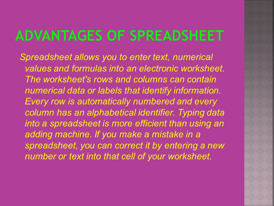 Spreadsheet In Excel Uses Of Ppt. Advantages Of Spreadsheet. Worksheet. Accounting Worksheet Advantages At Clickcart.co