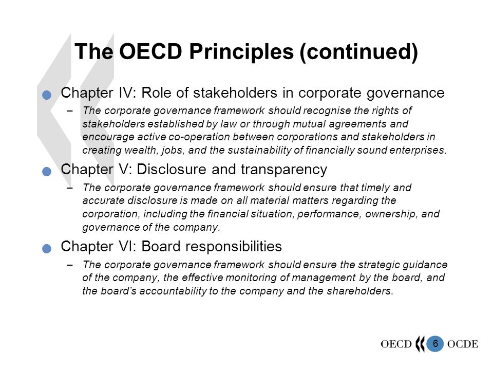 The OECD Principles (continued)