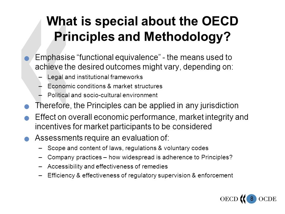 What is special about the OECD Principles and Methodology