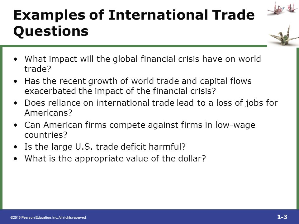 Examples of International Trade Questions