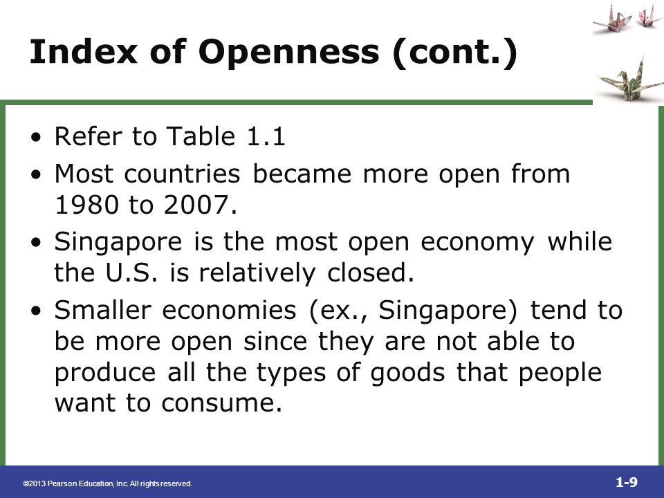 Index of Openness (cont.)