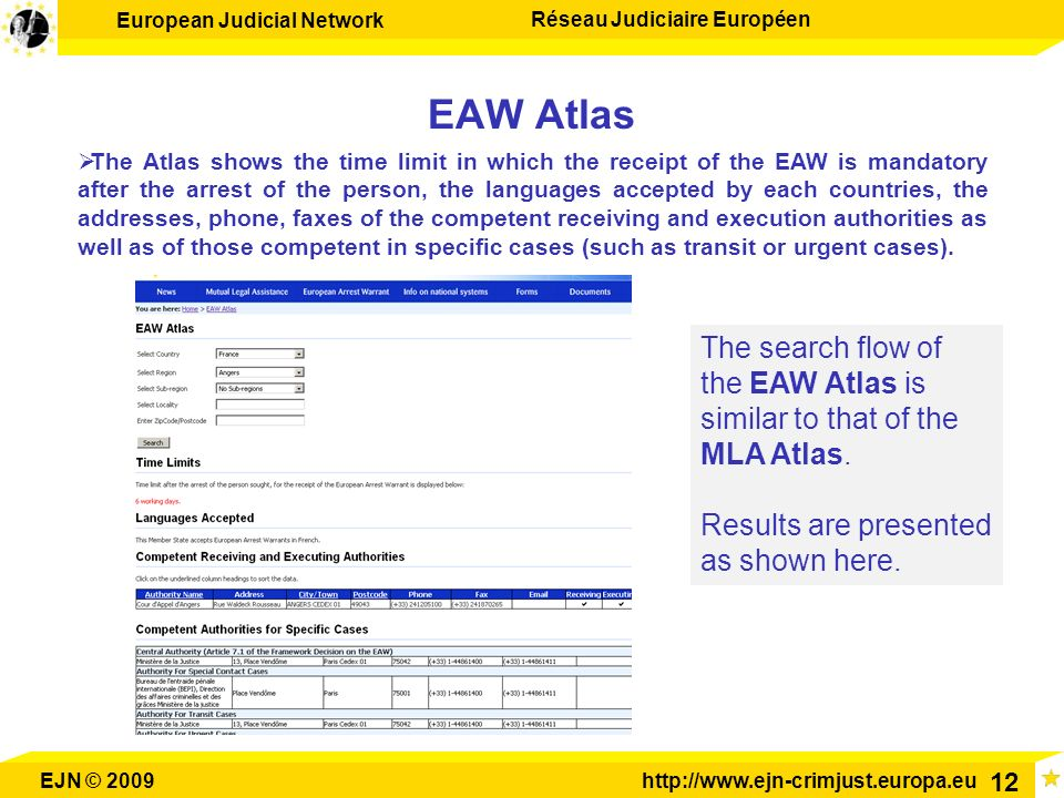 EAW Atlas The search flow of the EAW Atlas is similar to that of the