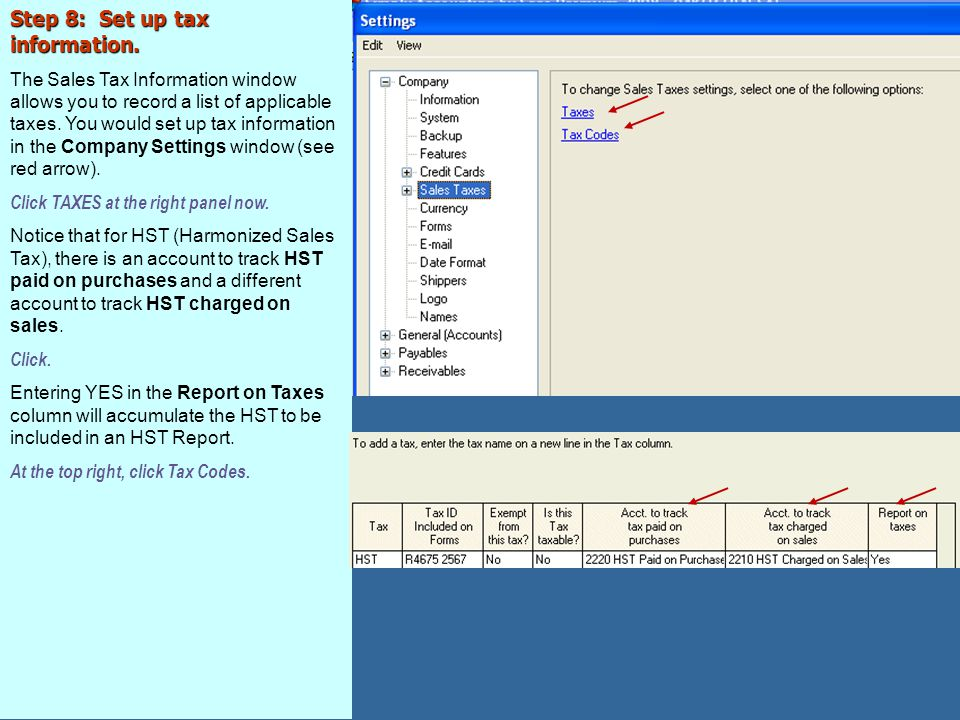 Step 8: Set up tax information.