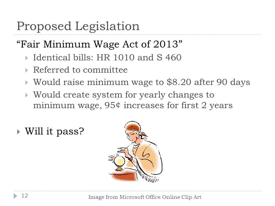 Proposed Legislation Fair Minimum Wage Act of 2013 Will it pass