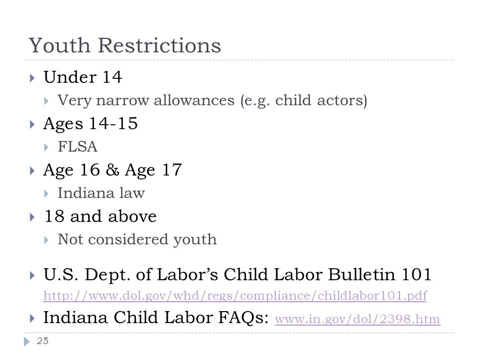 Youth Restrictions Under 14 Ages Age 16 & Age and above