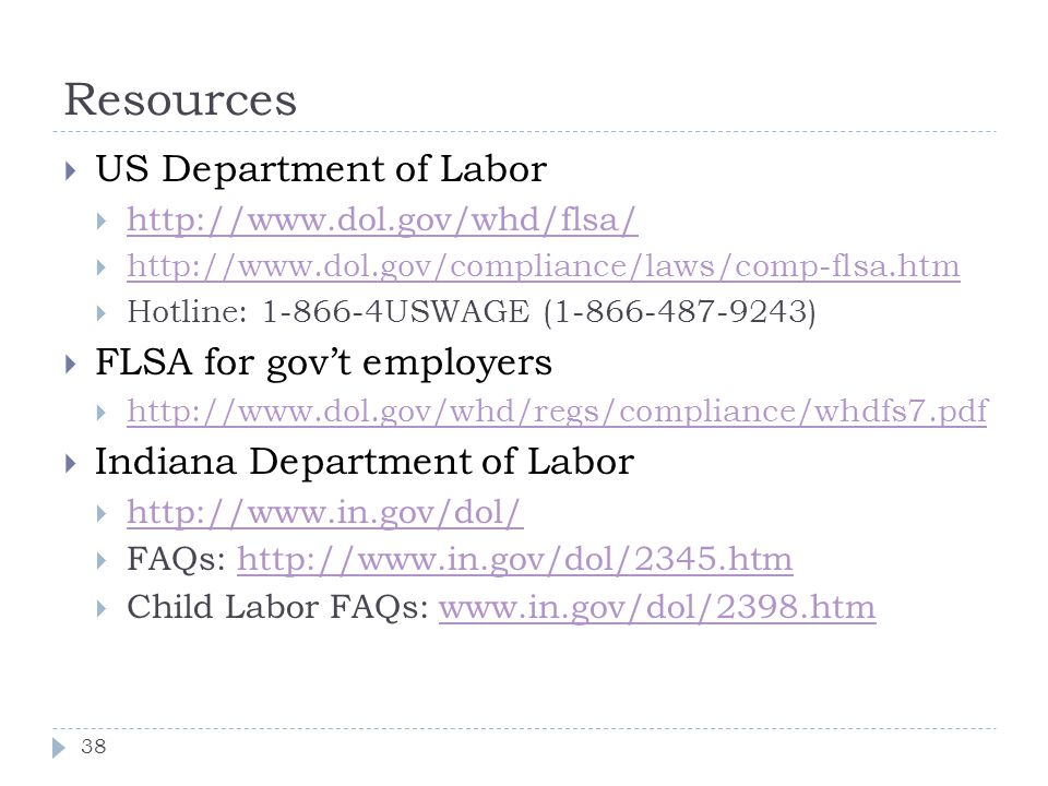 Resources US Department of Labor FLSA for gov't employers
