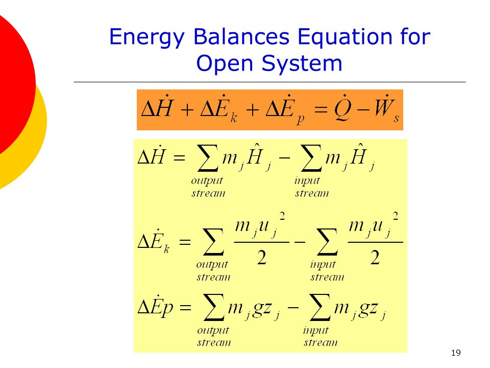 Energy Balances Equation for Open System
