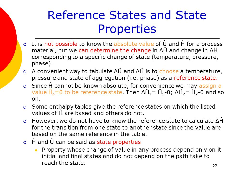 Reference States and State Properties