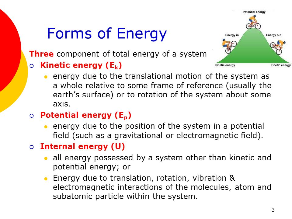 Forms of Energy Three component of total energy of a system