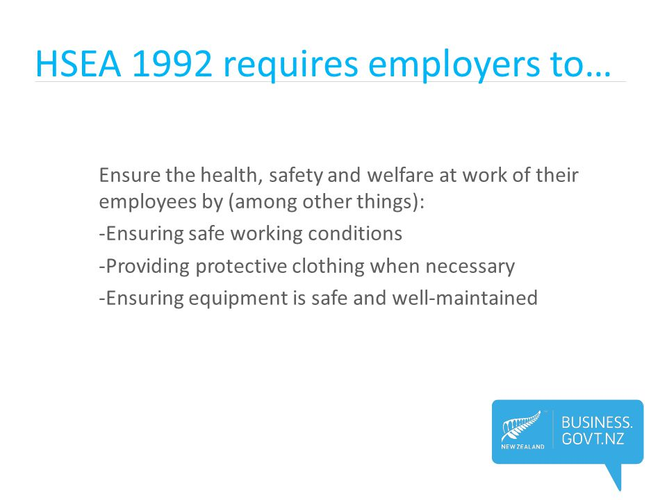 HSEA 1992 requires employers to…