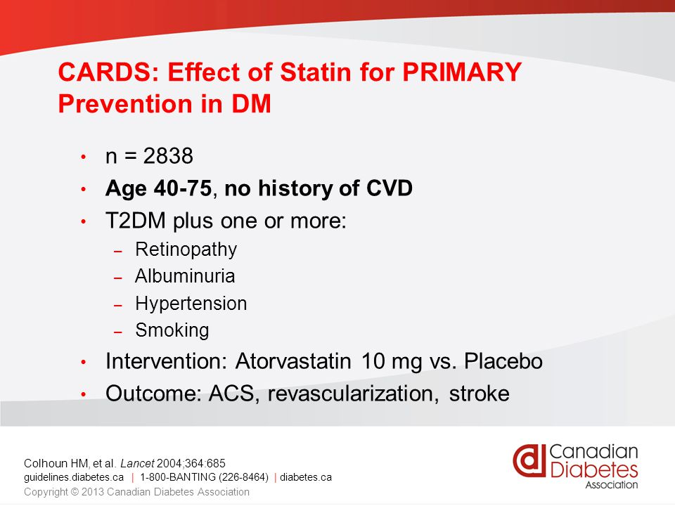 CARDS: Effect of Statin for PRIMARY Prevention in DM