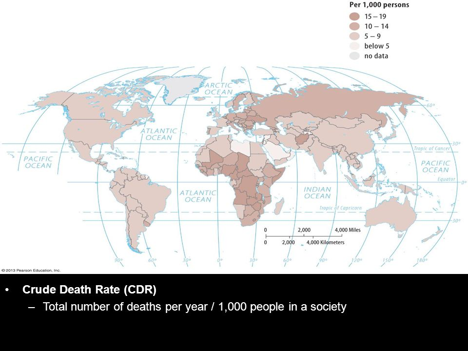 Crude Death Rate (CDR) Total number of deaths per year / 1,000 people in a society
