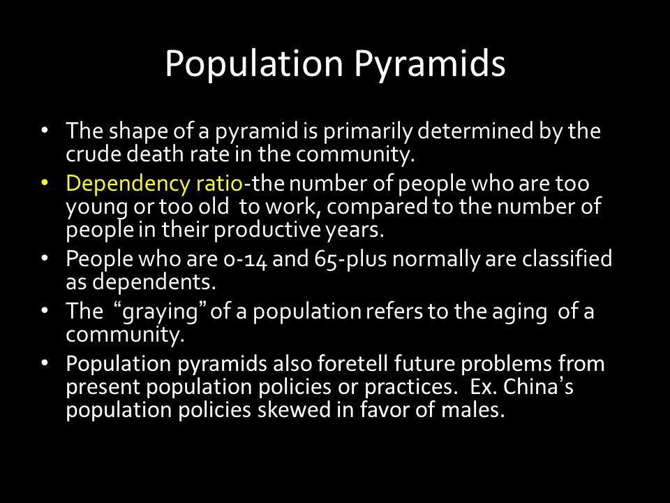 Population Pyramids The shape of a pyramid is primarily determined by the crude death rate in the community.