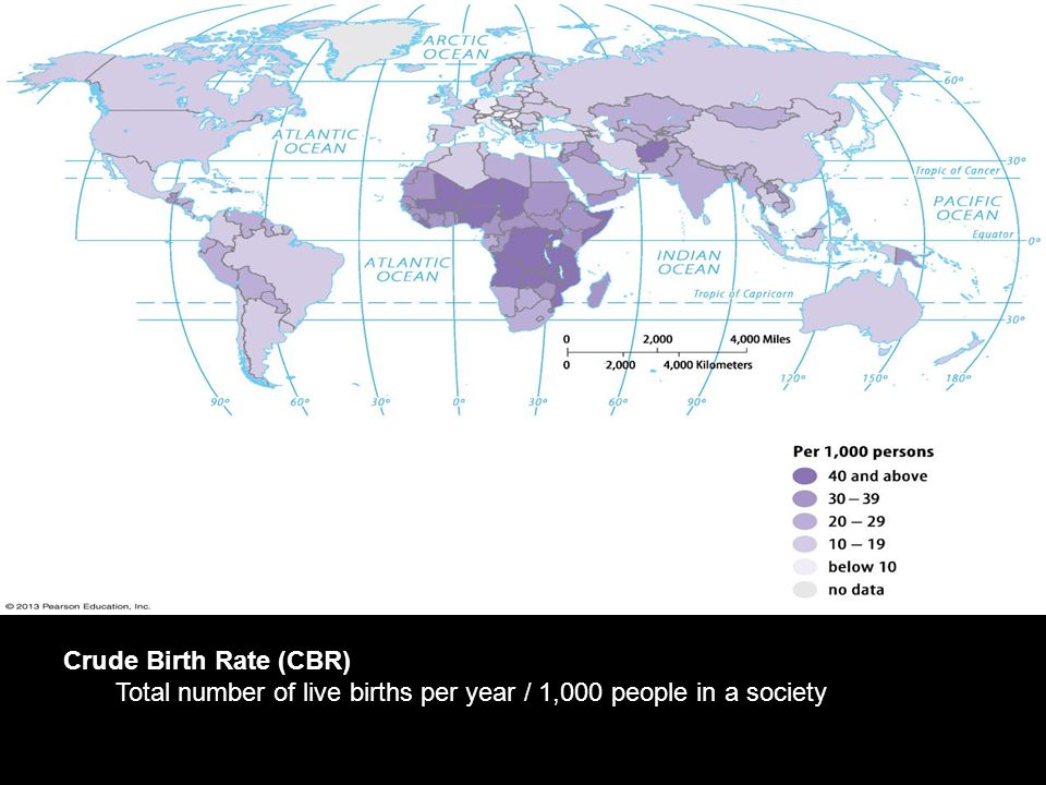 Crude Birth Rate (CBR) Total number of live births per year / 1,000 people in a society