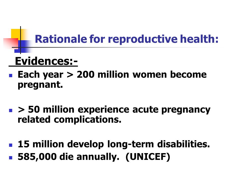 Rationale for reproductive health: