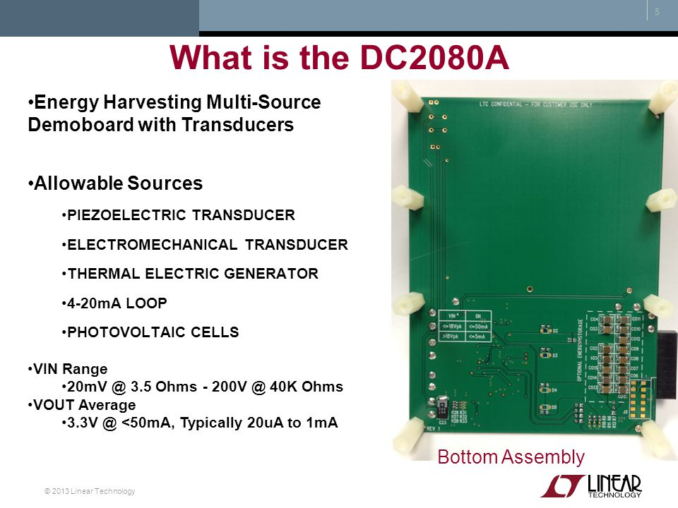What is the DC2080A Energy Harvesting Multi-Source Demoboard with Transducers. Allowable Sources.