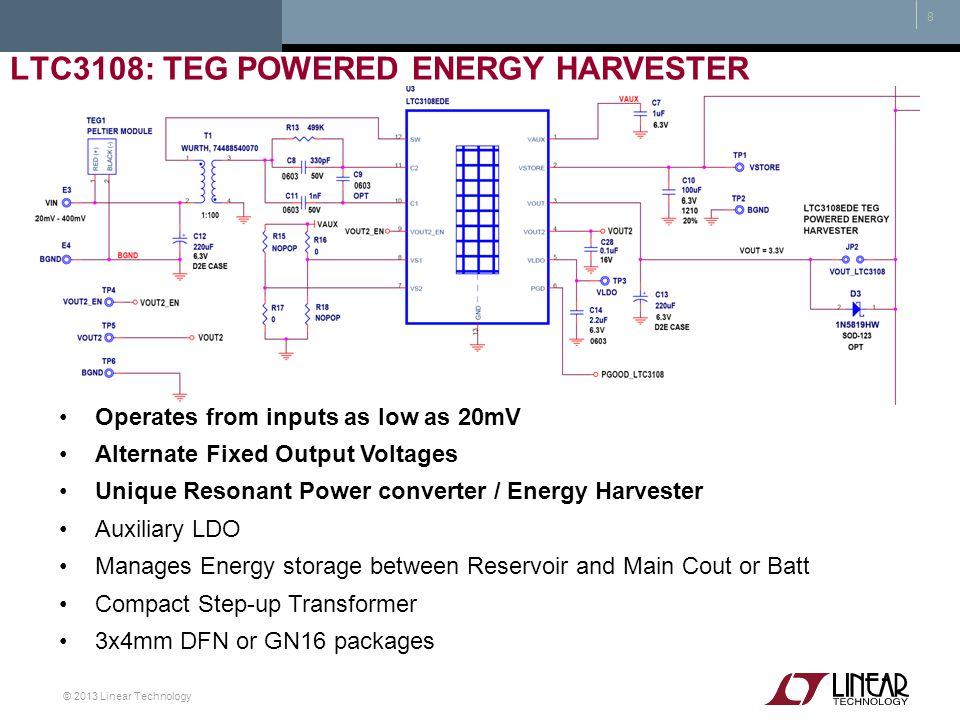 LTC3108: TEG powered Energy Harvester