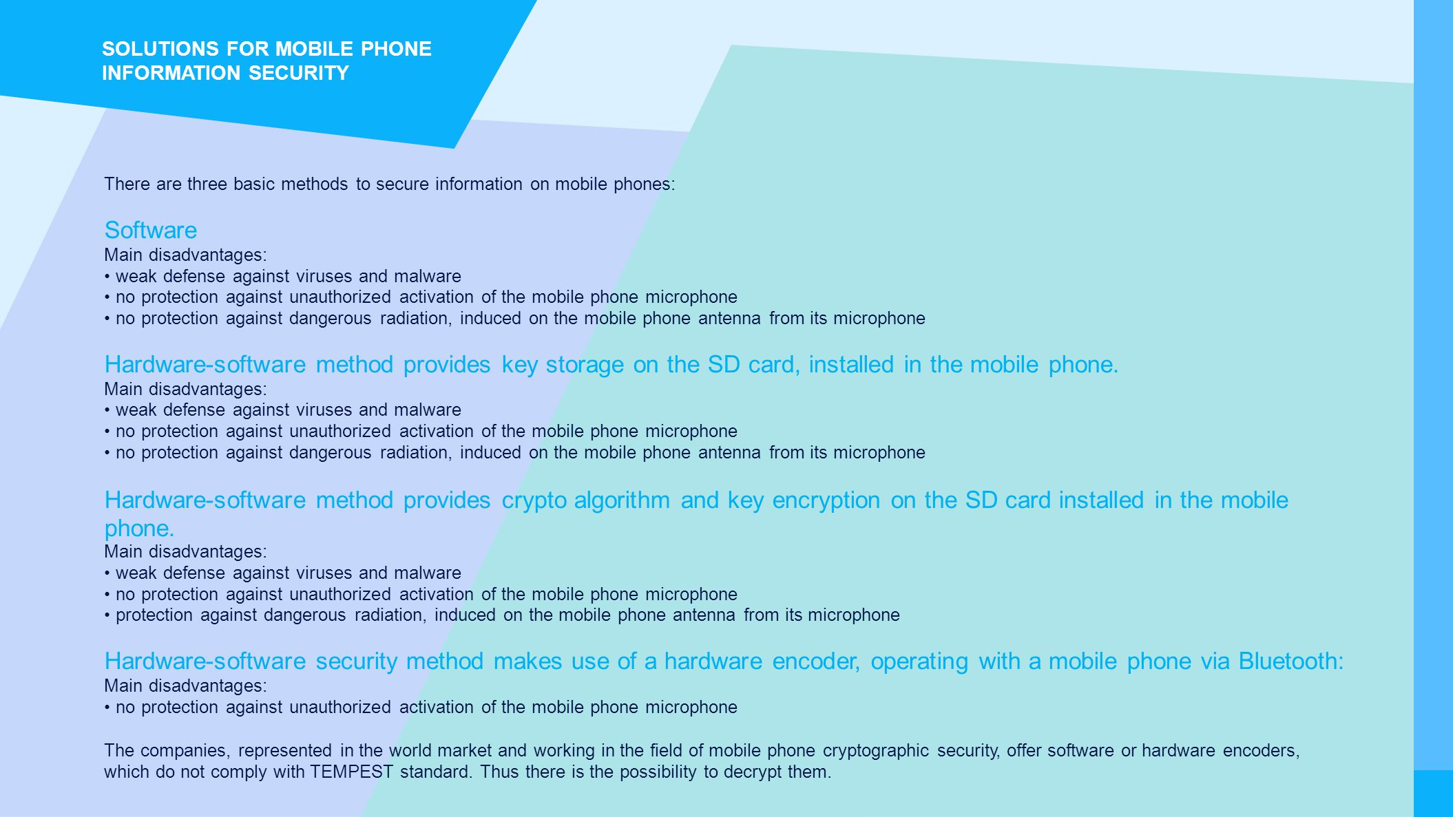 SOLUTIONS FOR MOBILE PHONE INFORMATION SECURITY