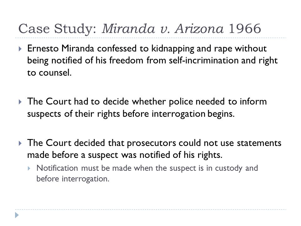 Case Study: Miranda v. Arizona 1966