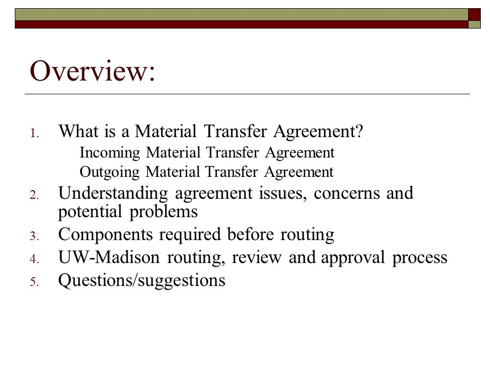 Material Transfer Agreements Ppt Download