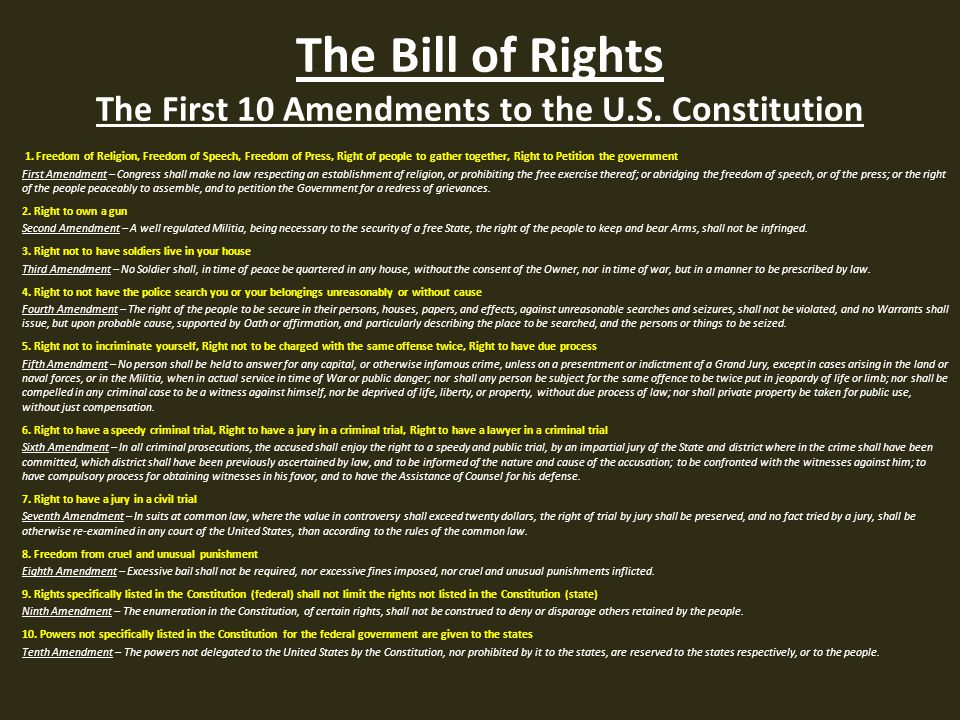 The Bill Of Rights The First 10 Amendments To The U S Cons Ution