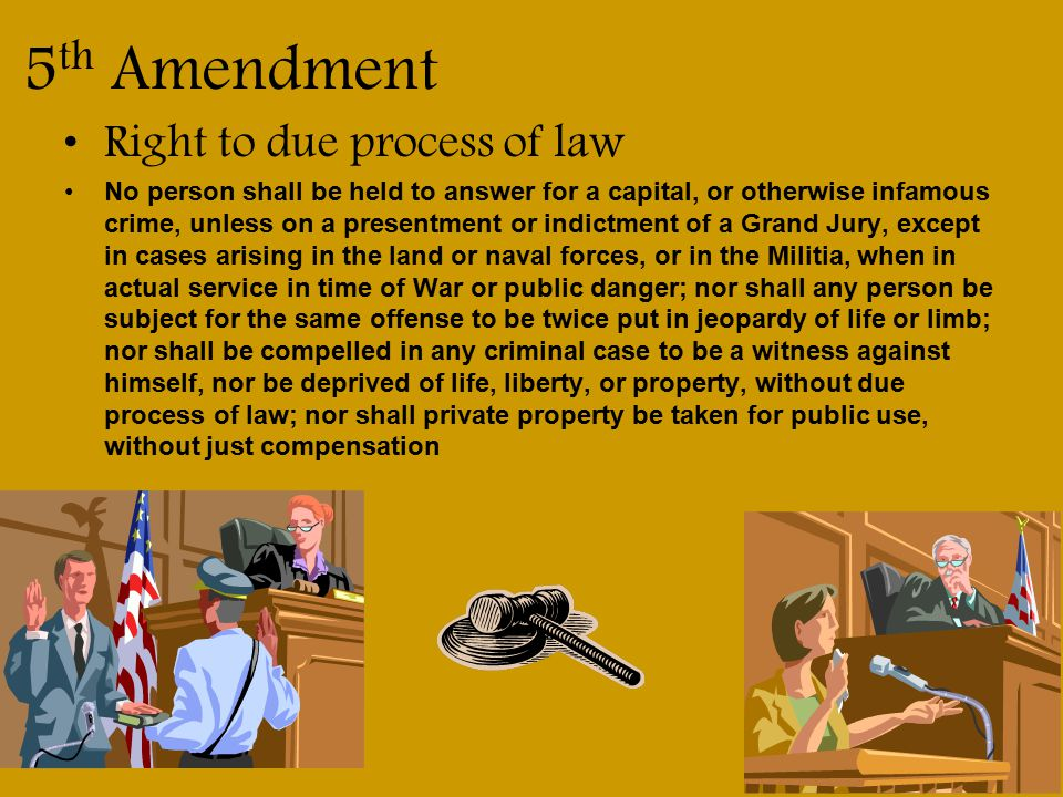5th Amendment Right to due process of law