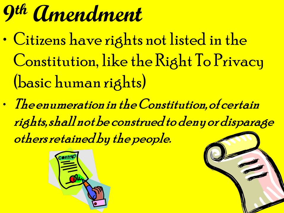 9th Amendment Citizens have rights not listed in the Constitution, like the Right To Privacy (basic human rights)