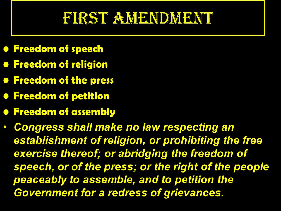 First Amendment Freedom of speech Freedom of religion