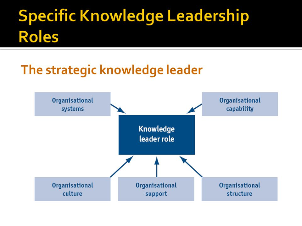 Specific Knowledge Leadership Roles