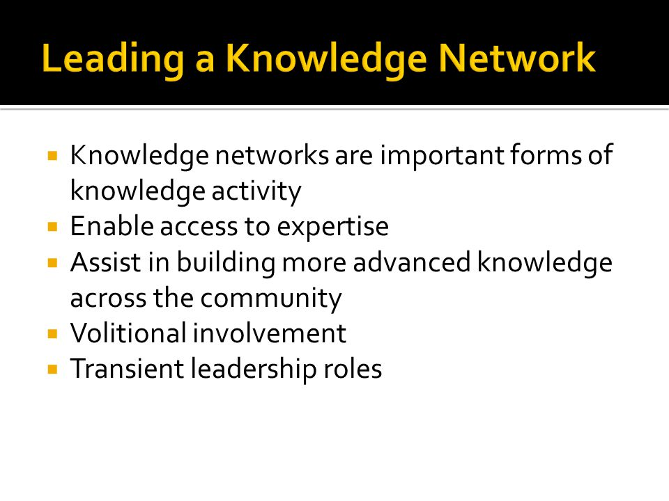 Leading a Knowledge Network