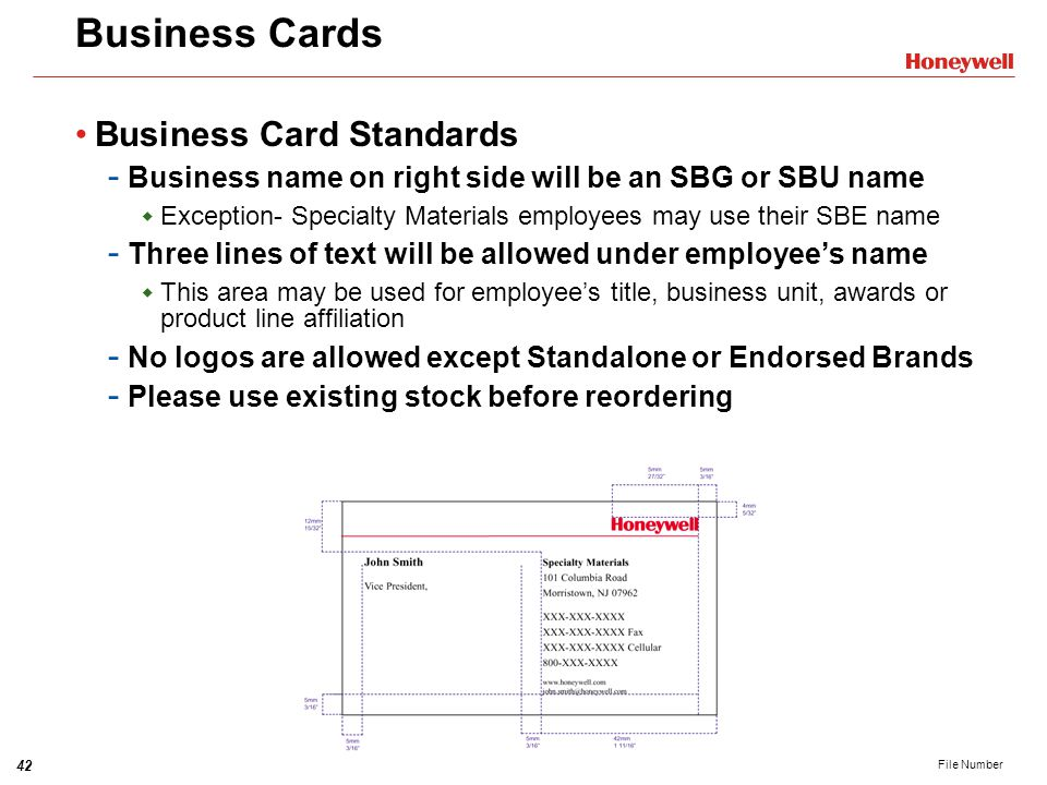 Honeywell brand strategy and visual identity system training session 42 business cards business card standards reheart Image collections