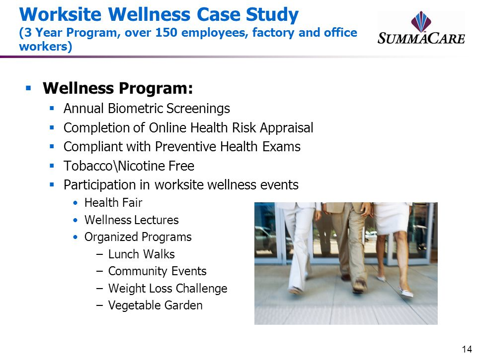 Worksite Wellness Case Study (3 Year Program, over 150 employees, factory and office workers)