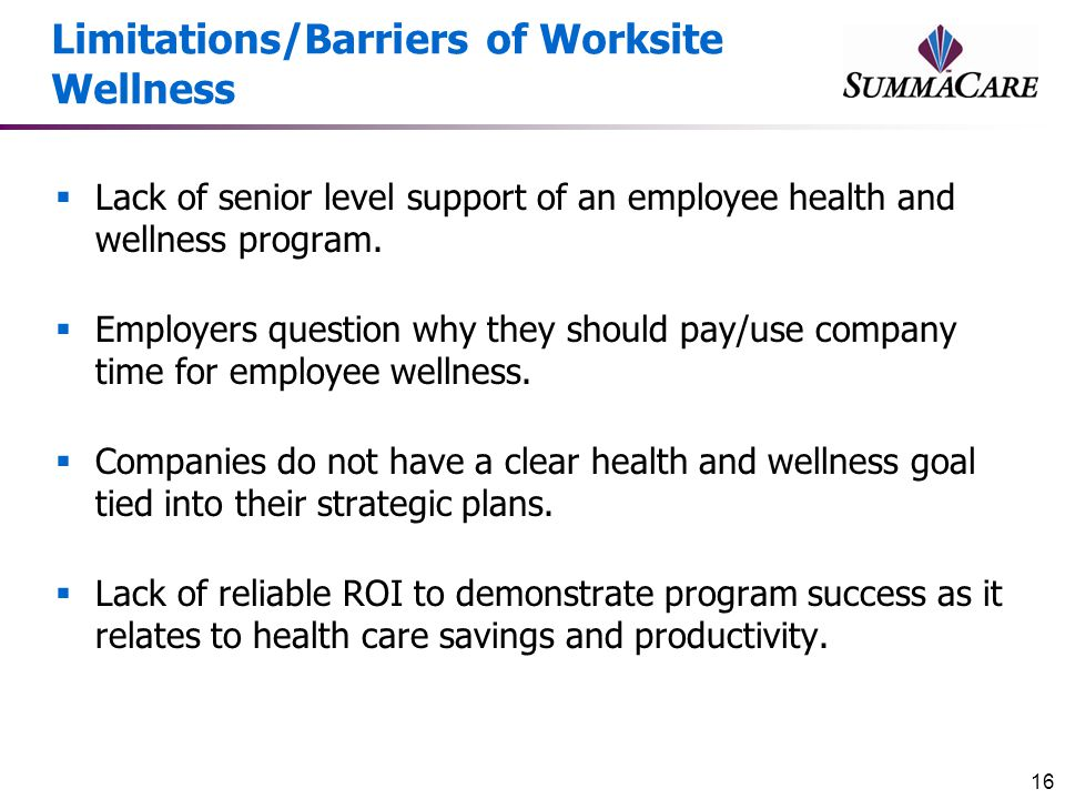 Limitations/Barriers of Worksite Wellness