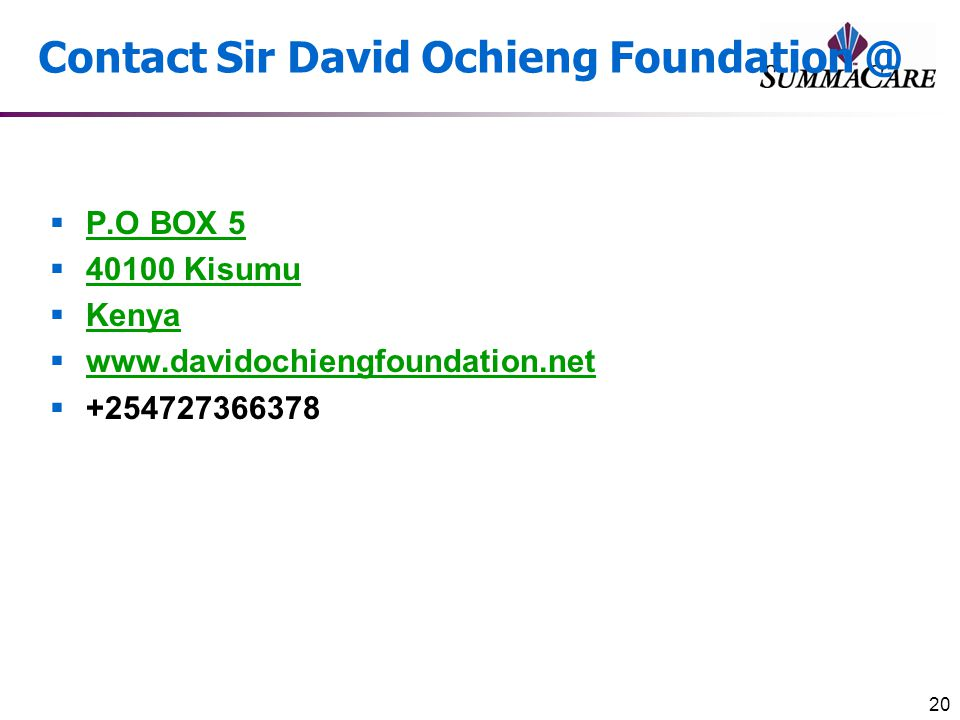 Contact Sir David Ochieng