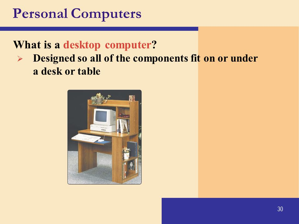 Personal Computers What is a desktop computer