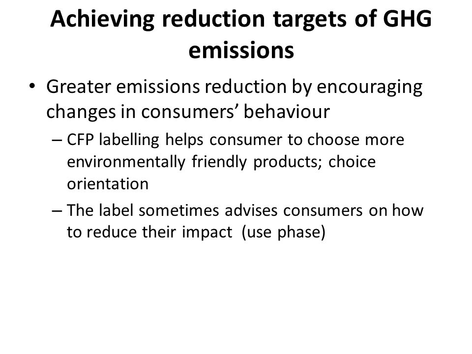 Achieving reduction targets of GHG emissions