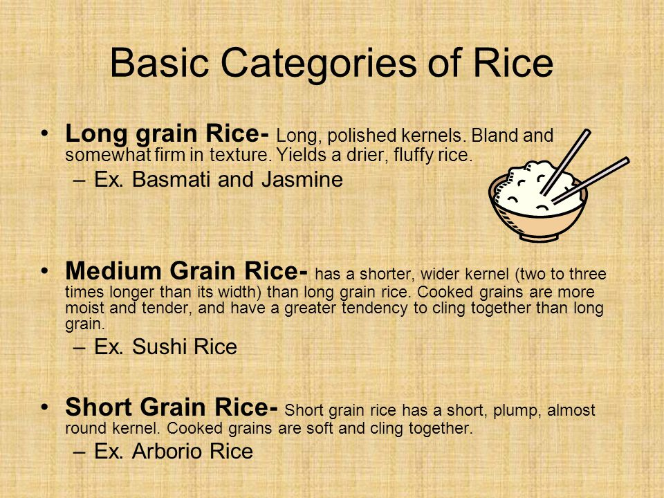 Basic Categories of Rice